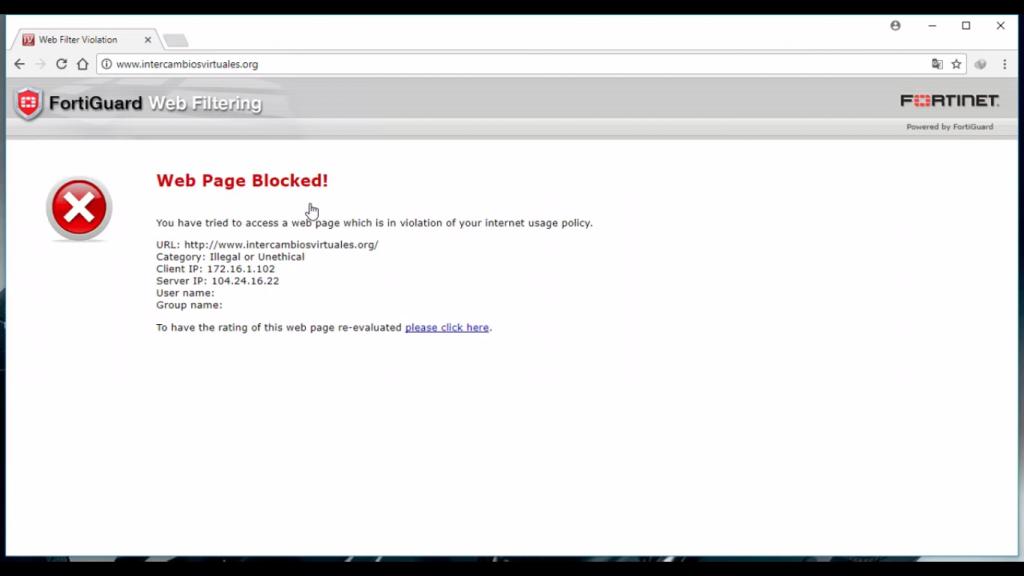 pagina bloqueada por fortiGuard