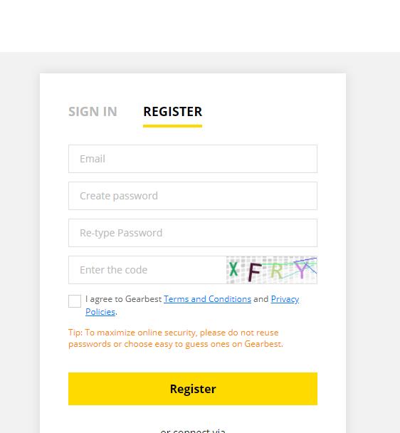 registrar  cuenta en gearbest