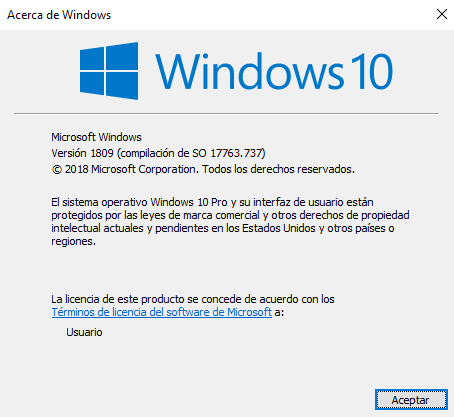 QUE VERSION DE WINDOWS 10 TENGO INSTALADO