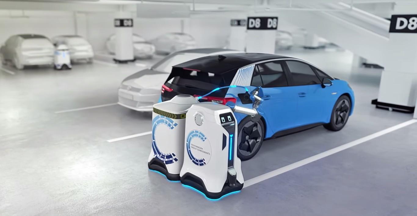 Volkswagen: Robot irá recargando vehículos eléctricos.